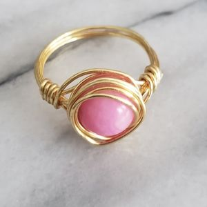 Pink Rhodonite Ring Size Gold Artisan Wire Wrapped